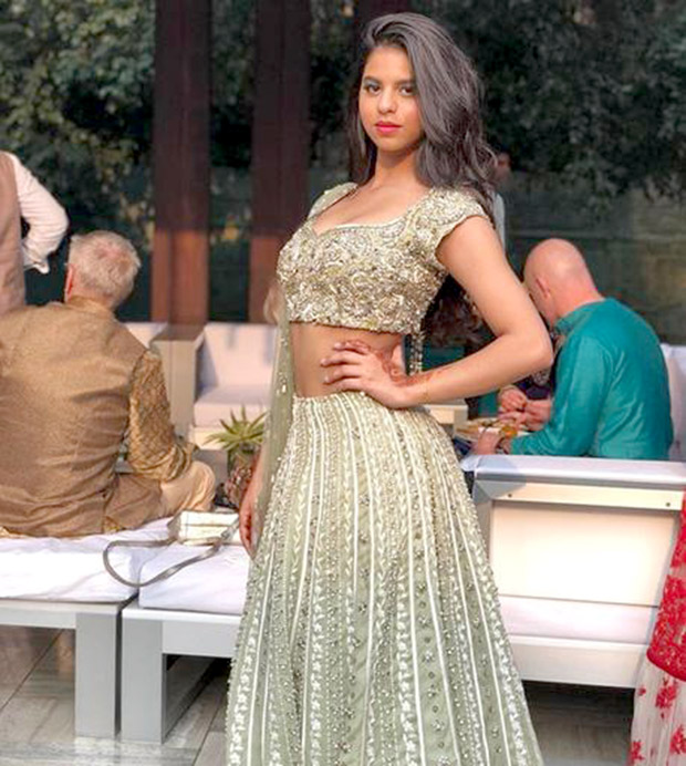 Suhana Khan looks beautiful in a lehenga at a family wedding